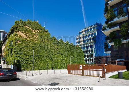 Milan Italy - May 04 2016: The green wall of building nearby the Bosco Verticale in the Porta Nuova area of the city