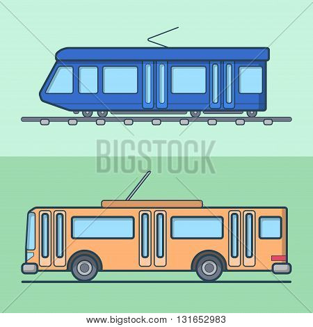 Tram trolleybus trolley bus public transport set. Linear stroke outline flat style vector icons. Color outlined icon collection.
