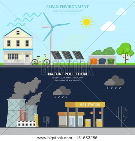 Clean Environment and Nature Pollution flat style hero image