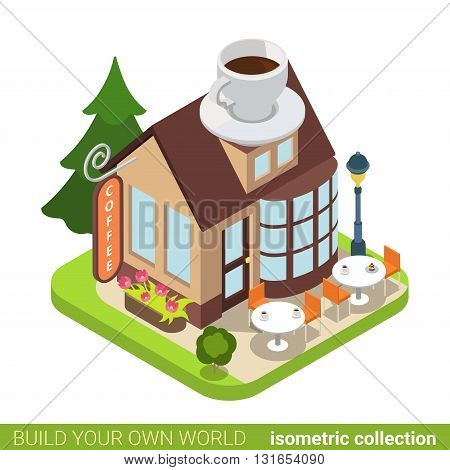 Coffee cafe restaurant building realty real estate concept. Flat 3d isometry isometric style web site app icon concept vector illustration. Build your own world architecture collection.