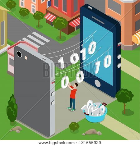 Information sharing communication data transfer hacker intrusion concept. Flat style vector website illustration.  between smartphones over dryer rope.