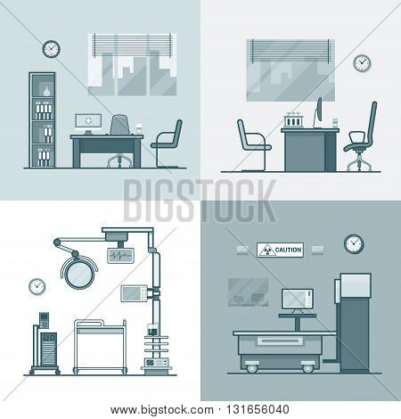 Hospital clinic medical medicine dispensary lab operation room x-ray roentgen doctor cabinet interior indoor set. Linear stroke outline flat style vector icons. Monochrome icon black and white collection.