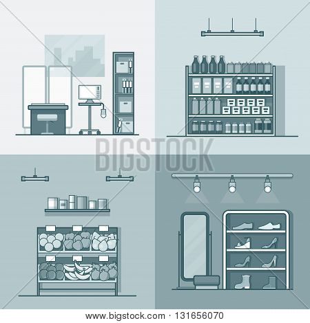 Green grocery vegetable shoes shop store hospital interior indoor set. Linear stroke outline flat style vector icons. Monochrome icon black and white collection.