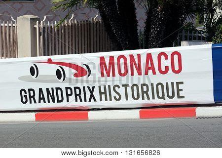 Monte-Carlo Monaco - May 18 2016: Red and White Monaco Grand Prix Historique Signboard in Monte-Carlo Monaco