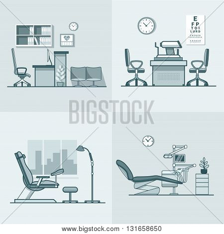Gynecological gynecology dentist oculist eye doctor office hospital medicine woman healthcare room interior indoor set. Linear stroke outline flat style vector icons. Monochrome color icon collection.