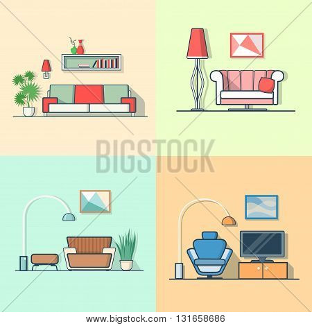 Condo accommodation living room cosy modern minimalism minimal interior indoor set. Linear multicolor stroke outline flat style vector icons. Color icon collection.