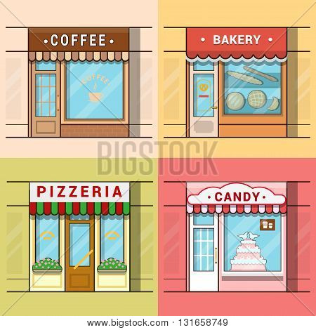 Small local business showcase storefront shop window cafe coffee bakery pizza pizzeria candy confectionery set. Linear multicolor stroke outline flat style vector icons. Color icon collection.
