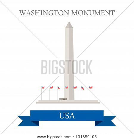 Washington Monument United States. Flat cartoon style historic sight showplace attraction web site vector illustration. World countries cities vacation travel sightseeing North America USA collection.