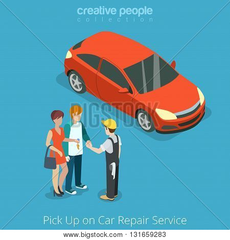 Pick up Car from repair vehicle service concept. Serviceman giving key to customer owner. Flat 3d isometry isometric style web site app icon set concept vector illustration. Creative people collection poster