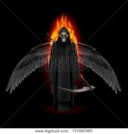 Grim Reaper with wings and orange flame