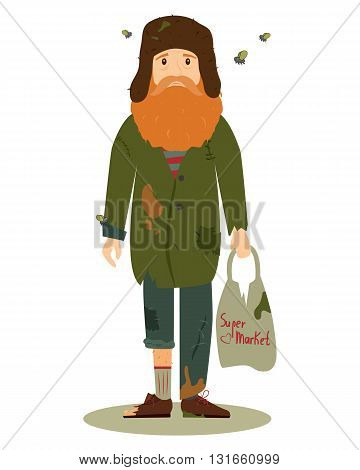 Homeless. Shaggy man in dirty rags, with flies and with a package in his hand. Vector illustration isolated on white background.