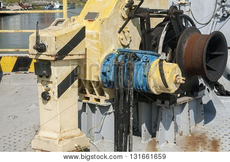 Part of mechanical equipment of river ferryboat