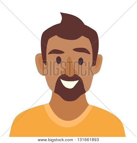 Young black man icon vector. Man icon illustration. Face of black man icon. Face of african people icons cartoon style. African-american people head flat icons. Isolated avatar on white background