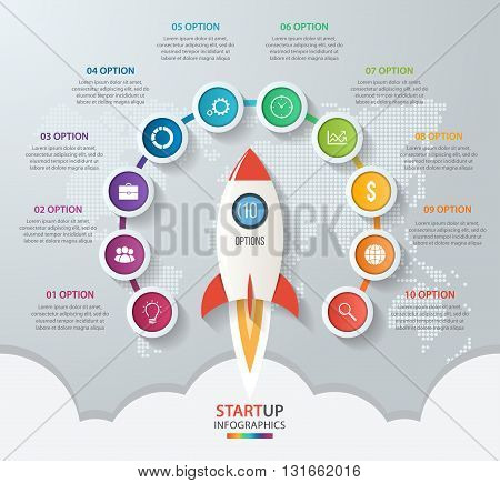 Startup vector circle infographics with rocket launch and styled world map. 10 options parts steps processes business concept for graphs charts diagrams.