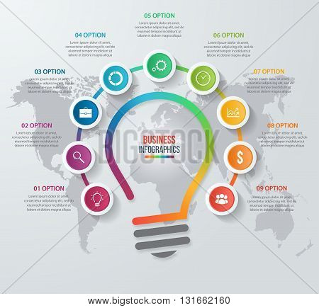 Vector idea light bulb circle infographic template for graphs charts diagrams. Business concept with 9 options parts steps processes.