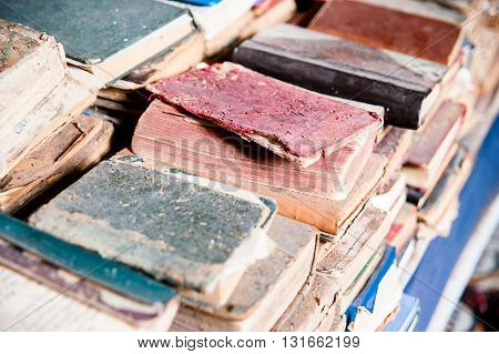 Broken Old Books Heap detail, Morocco, Africa