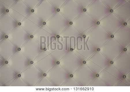 Buttoned White Leather Wall