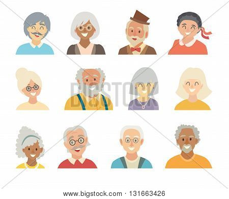 Old people icons vector set.Face of old people icons.Face of elder people icons cartoon style.Grandfather and grandmother characters.Pensioner people head flat icons collection. Isolated avatar white background.Different nationalities