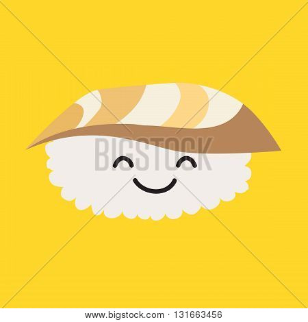 Fun sashimi vector cartoon character. Cute sashimi with tuna. Japanese food. Sushi with cute faces. Happy sushi with tuna characters. Vecor sashimi icon. Vector illustration isolated on white background