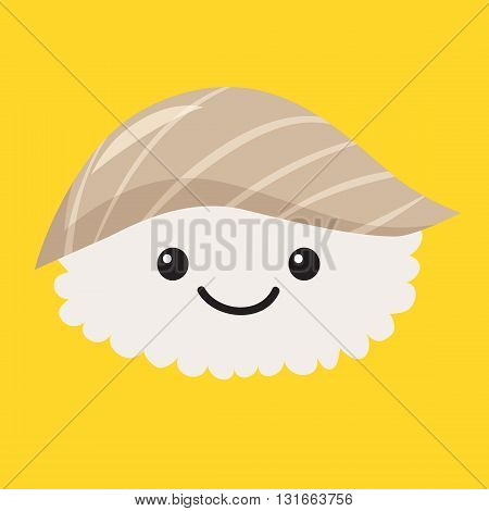 Fun sashimi vector cartoon character. Cute sashimi. Japanese food. Sushi with cute faces. Happy sushi characters. Vector sashimi icon. Vector illustration sushi isolated on white background