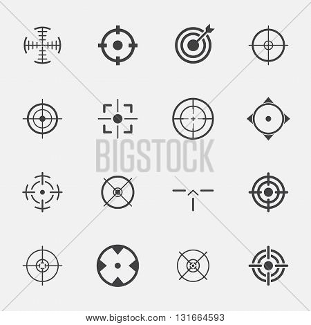 crosshairs sign and symbol icon set . vector illustration.
