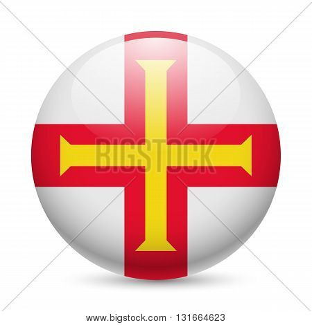 Flag of Guernsey as round glossy icon. Button with flag design