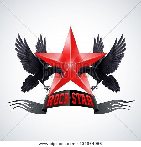 Rock Star banner in red color with two ravens