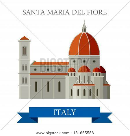 Santa Maria del Fiore Florence Italy flat vector attraction