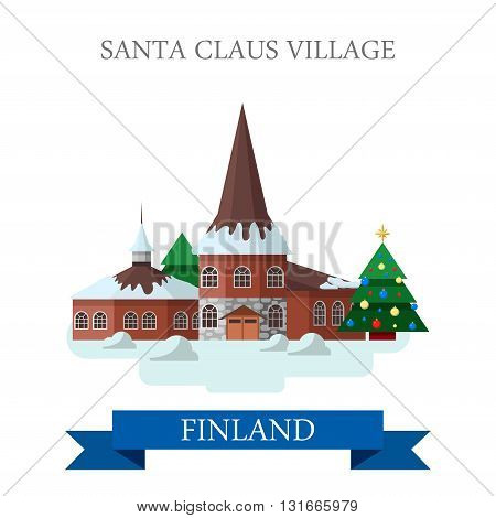 Santa Claus Village Residence Finland flat vector attraction