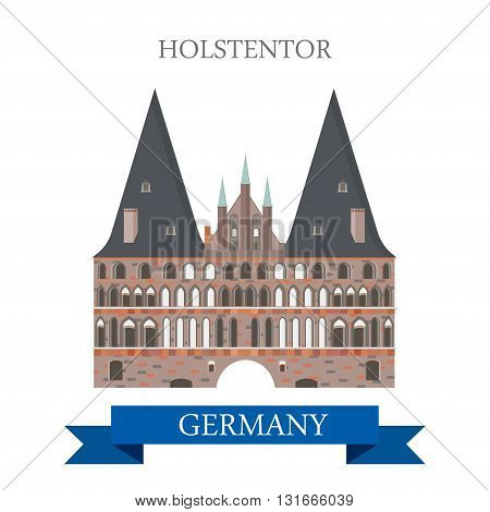 Holstentor Holsten Gate Lubeck Germany flat vector attraction