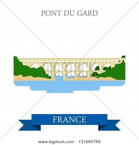 Pont du Gard in France flat vector attraction sight landmark