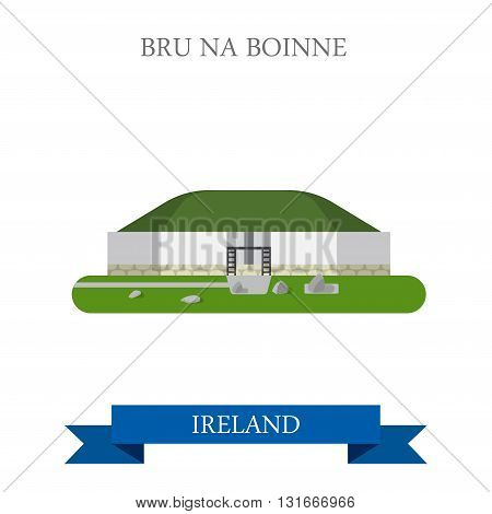 Bru na Boinne Palace in Ireland flat vector attraction sight