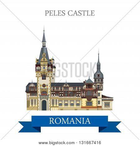 Peles Castle Romania Europe flat vector attraction landmark