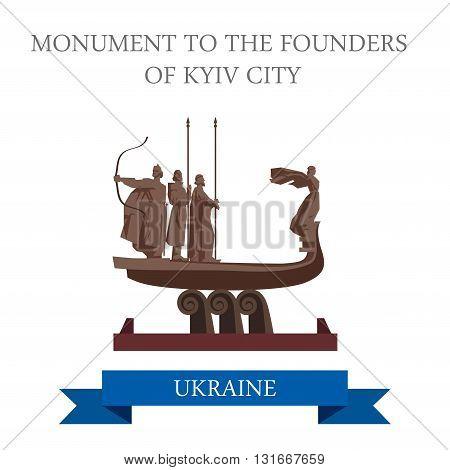 Monument to Founders Kyiv City Kiev Ukraine flat vector landmark