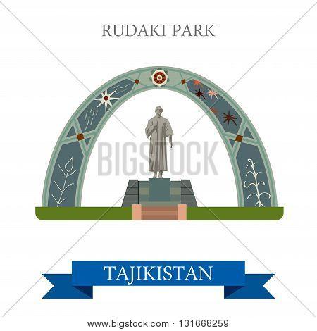 Rudaki Poet Park Dushanbe Tajikistan vector flat attraction