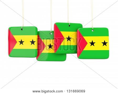 Square Labels With Flag Of Sao Tome And Principe
