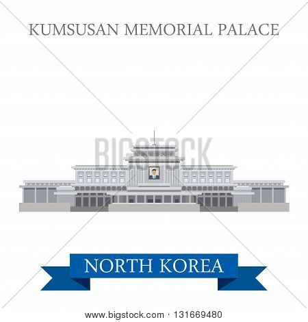 Kumsusan Memorial Palace Pyongyang North Korea vector flat