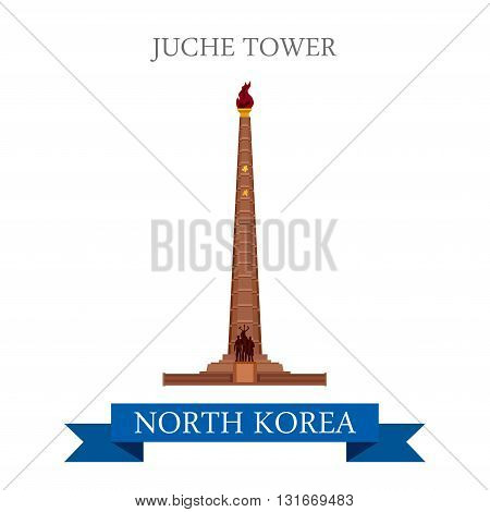 Juche Tower Pyongyang North Korea vector flat attraction travel
