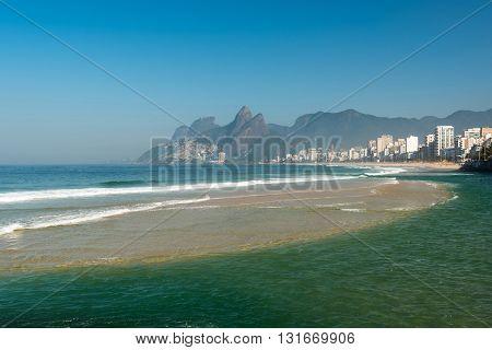 Ipanema beach view during the undertow, Rio de Janeiro, Brazil