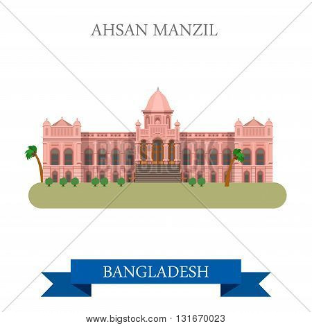 Ahsan Manzil palace Bangladesh landmarks vector flat attraction