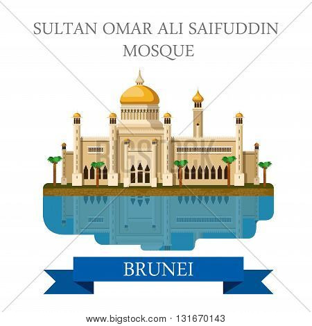 Sultan Omar Ali Saifuddin Mosque in Brunei. Flat cartoon style historic sight showplace attraction web site vector illustration. World countries cities vacation travel sightseeing Asia collection. poster