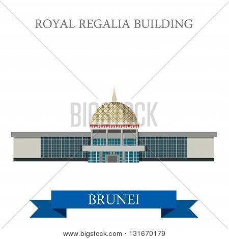 Royal Regalia Building Brunei landmarks vector flat attraction