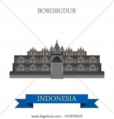 Borobudur Barabudur Buddhist temple Indonesia vector attraction