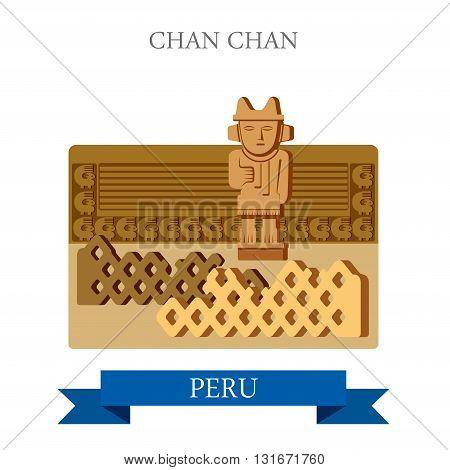 Chan Chan in Trujillo Peru vector flat attraction landmarks
