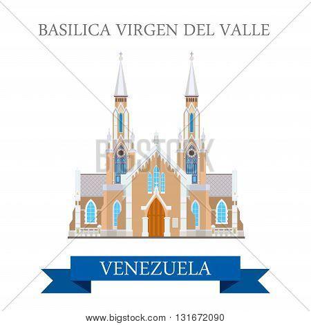 Basilica Virgen Del Valle in Venezuela vector flat attraction