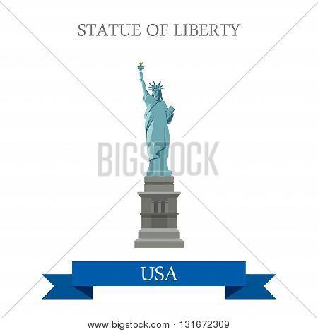 Statue of Liberty New York NY United States USA vector flat
