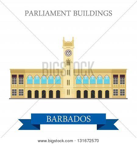 Parliament Buildings Barbados vector flat attraction landmarks
