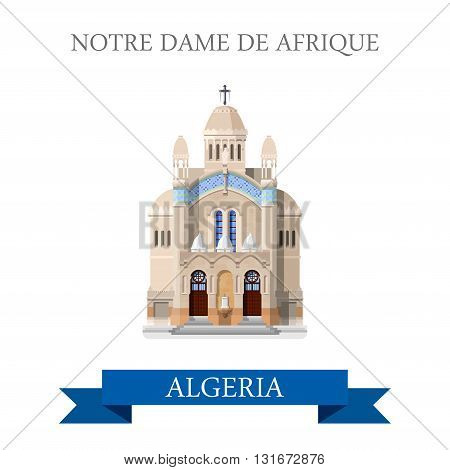 Notre Dame De Afrique in Algeria vector flat attraction landmark