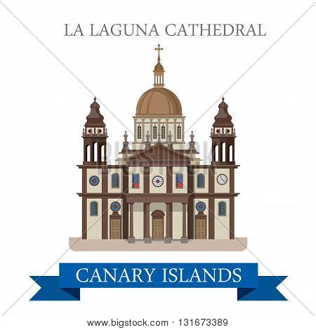 La Laguna Cathedral Canary Islands vector flat Africa attraction