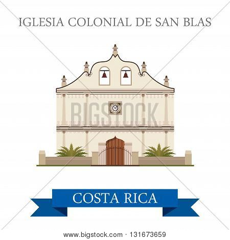 Iglesia Colonial De San Blas Costa Rica vector flat attraction
